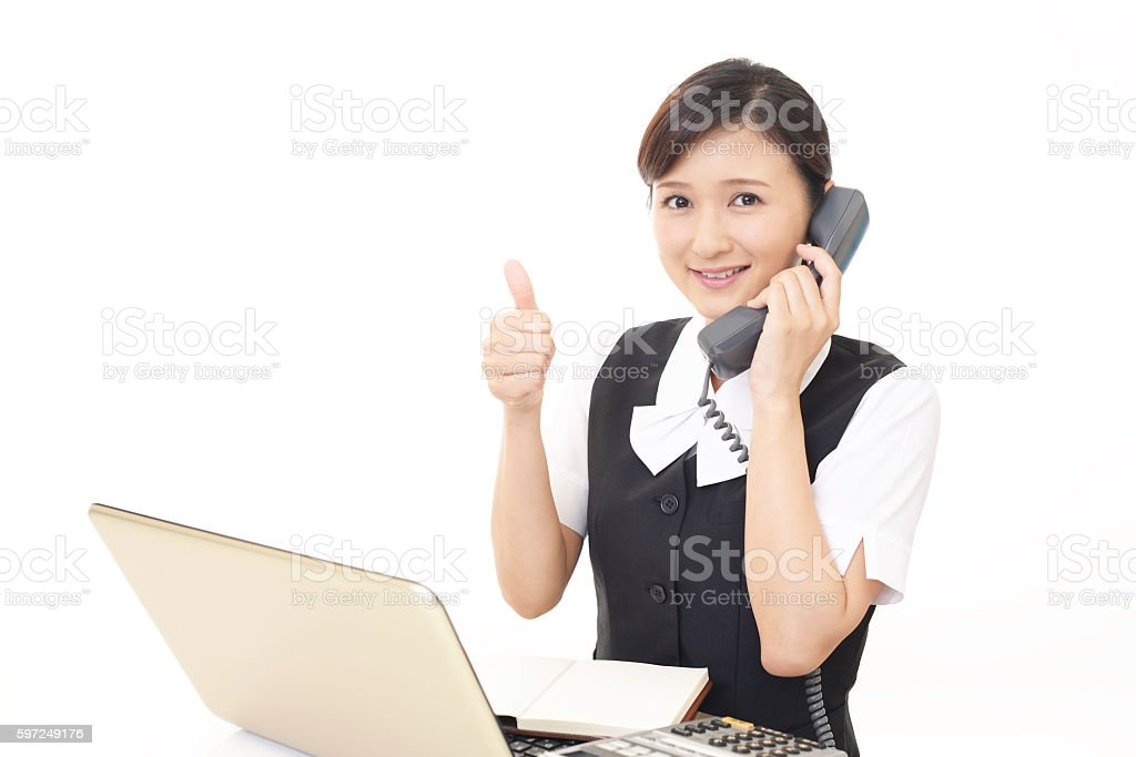The woman who enjoy working stock photo