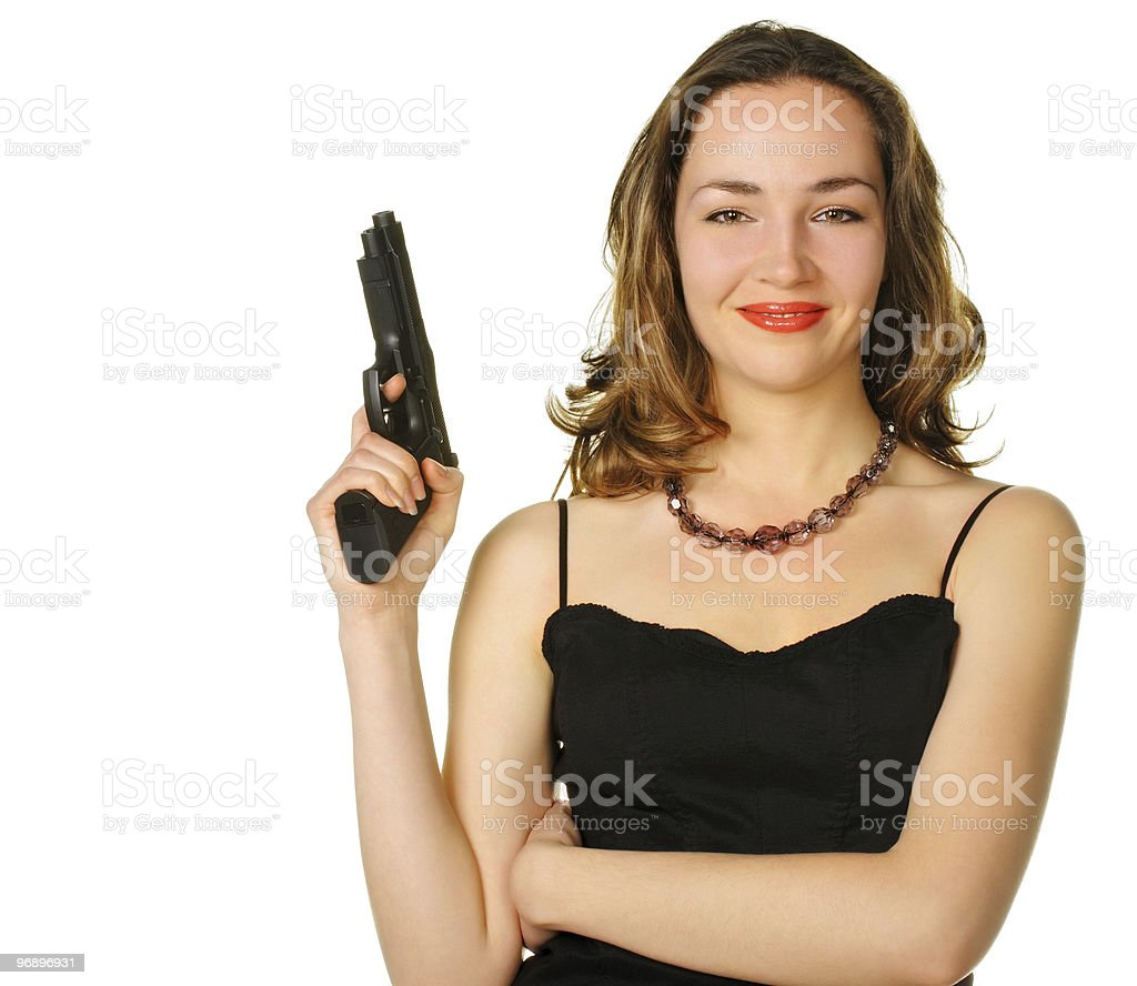 The woman with a pistol royalty-free stock photo