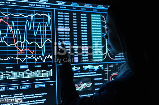 847519080 istock photo The woman works with graphics on a black monitor 1212374973