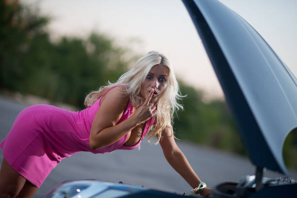 the woman's car broke down - stupidblonde stock pictures, royalty-free photos & images