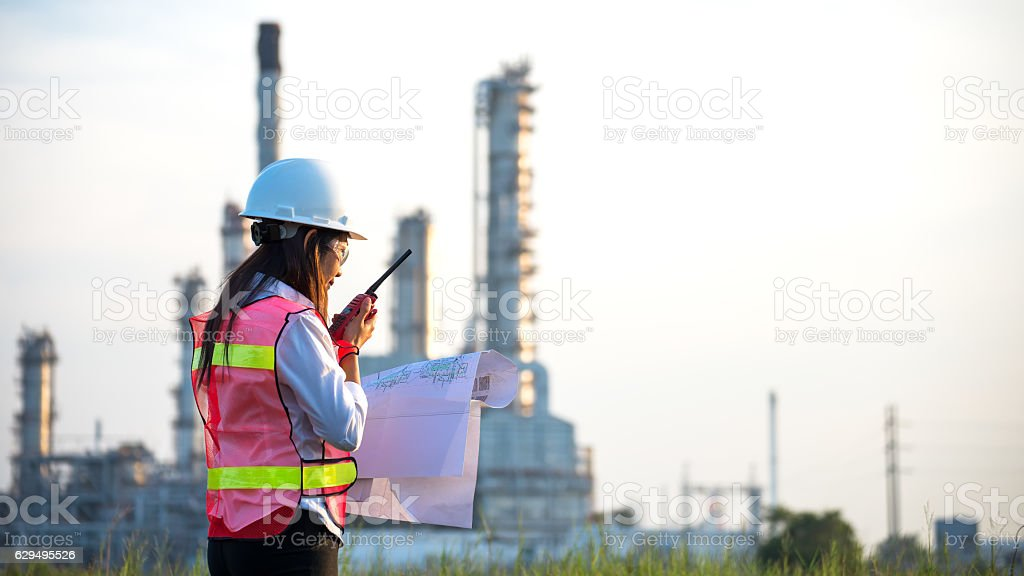 The women engineer at power plant, stock photo