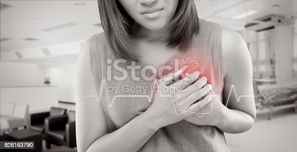 istock The women has heart disease and go to hospital urgent. People with heart problem concept 826163790