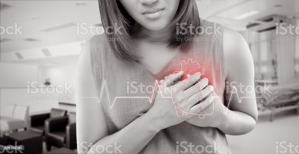 The women has heart disease and go to hospital urgent. People with heart problem concept stock photo