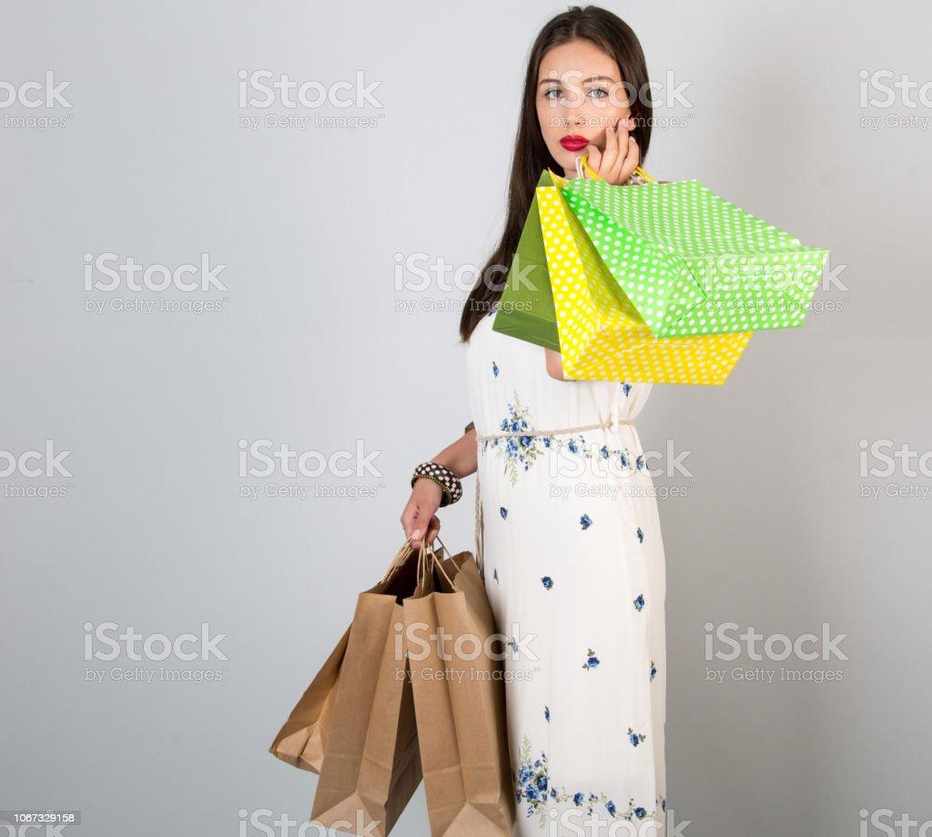 Die Frauen, die so glücklich Ursache ist Einkaufen tut Sie – Foto