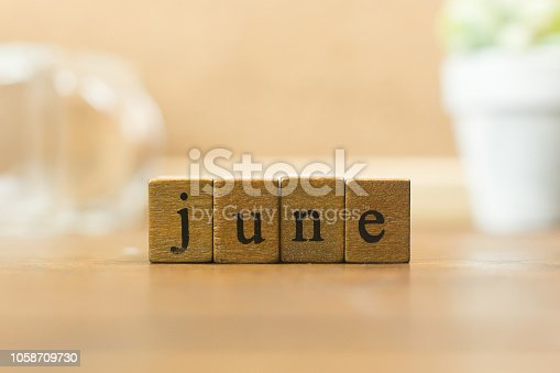 istock The wood stamp month close up image for background. 1058709730