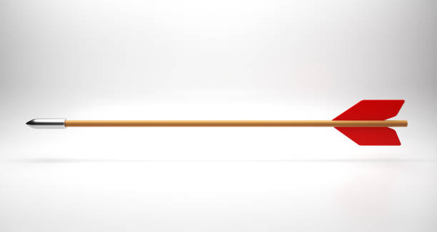 the wooden arrow on white - stock image - arrow bow and arrow stock pictures, royalty-free photos & images