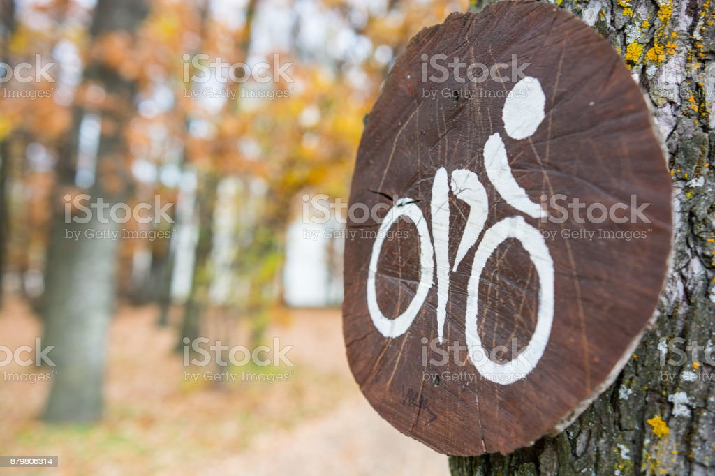 The Wooden bike sign stock photo