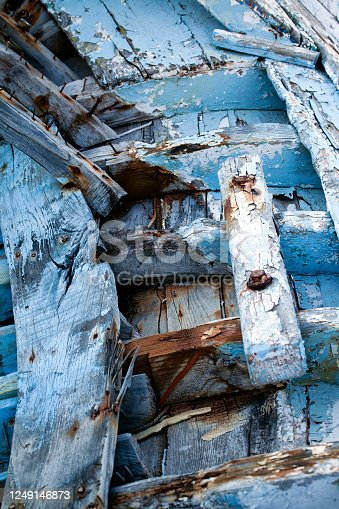 The Wooden Body Details of Fishing Boat Photo