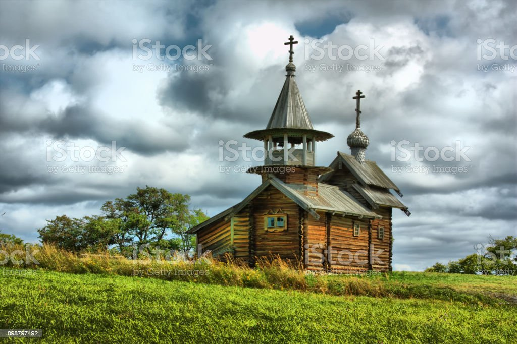 The wooden buildings of the ancient Russian architecture stock photo