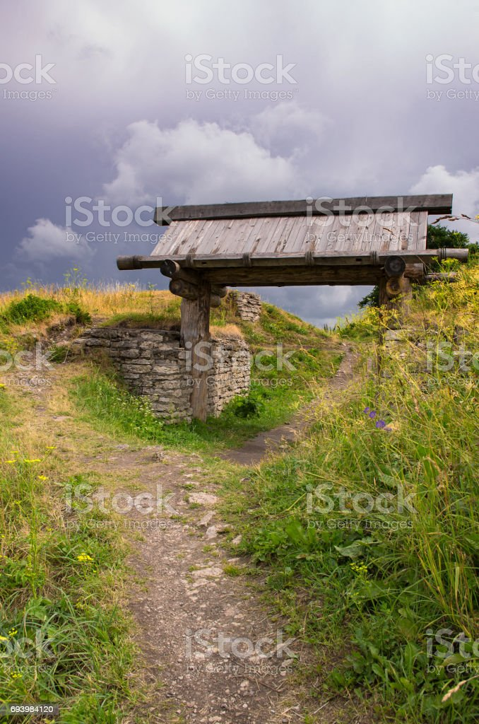The wooden gate in the ancient Truvor's settlement stock photo