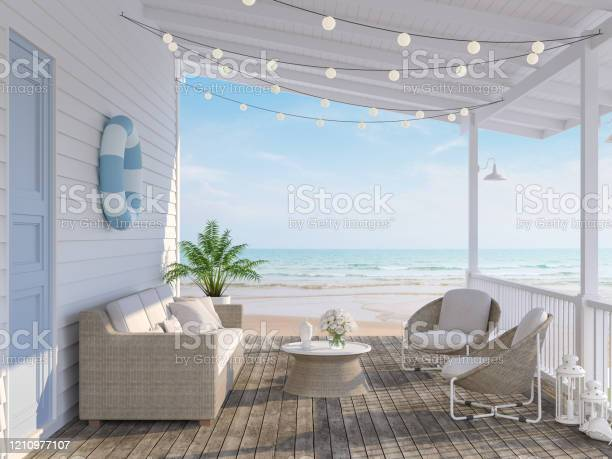 The Wooden House Terrace On The Beach 3d Render Stock Photo - Download Image Now
