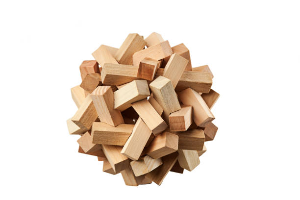 The wooden puzzle - game with blocks stock photo