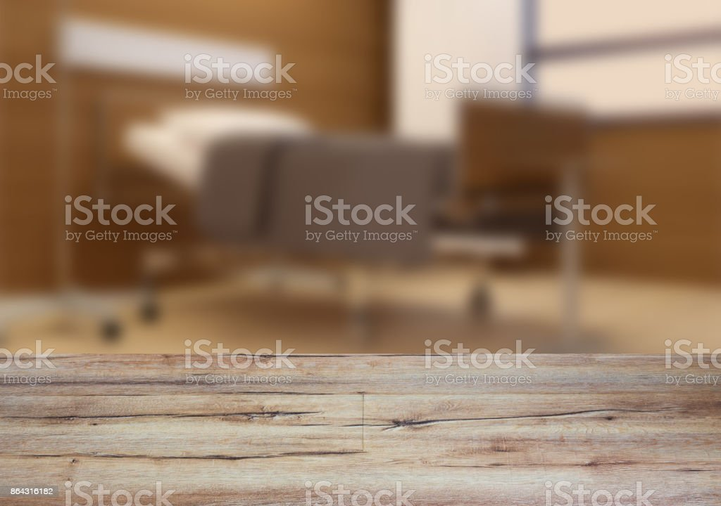 The wooden table. Blurred interior. Hospital stock photo
