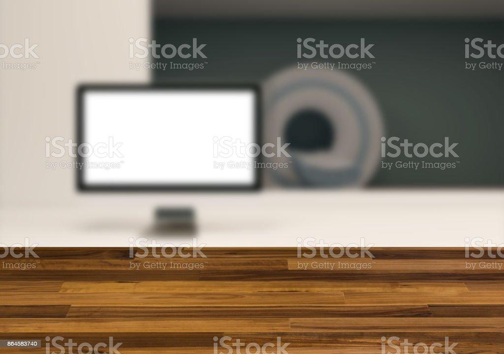 The wooden table. Blurred interior. MRI stock photo