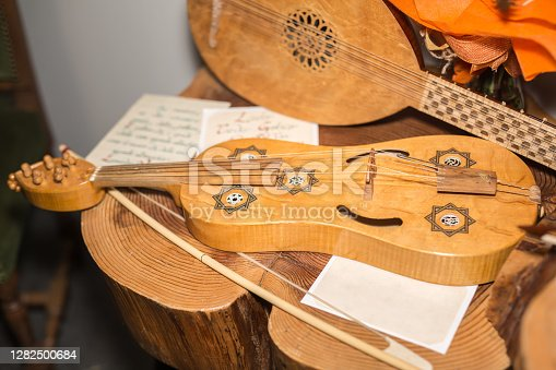 Parma, Italy - September 2020: The Wooden Vielle: an European Medieval Bowed Stringed Instrument.