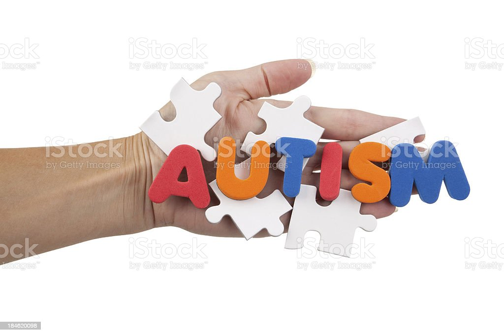 The Word Autism On Blank Puzzle Pieces royalty-free stock photo