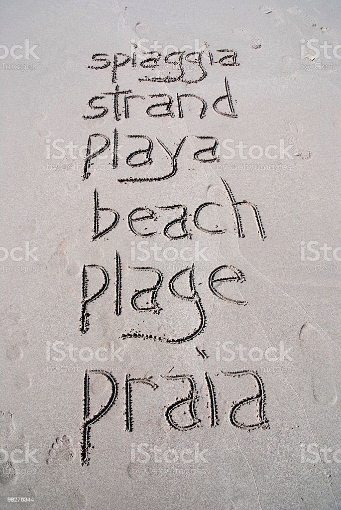 The word beach written by hand in six different languages royalty-free stock photo