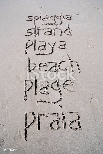 The Word Beach Written By Hand In Six Different Languages Stock Photo & More Pictures of Backgrounds