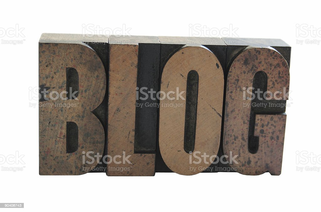 the word 'BLOG' in old wood letterpress type royalty-free stock photo