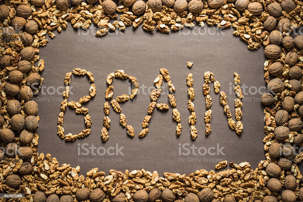 The word 'brain' is written from the walnuts stock photo