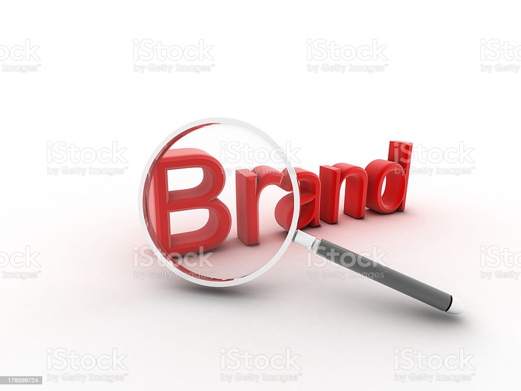 The word Brand under a magnifying glass royalty-free stock photo