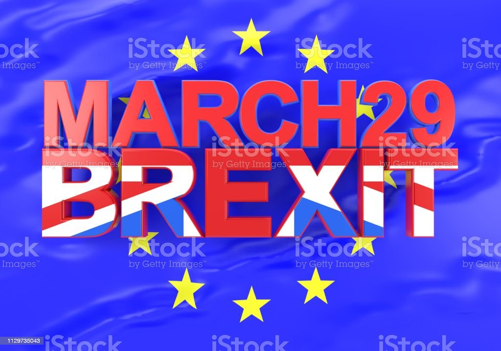 The word Brexit textured with the British flag on a EU flag with the...