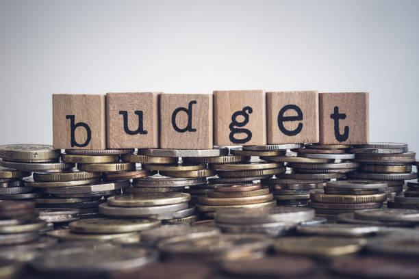 The word Budget on money and coins. stock photo