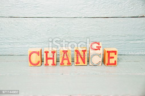 istock The Word change writen on a wooden cube turned into Chance 971144932
