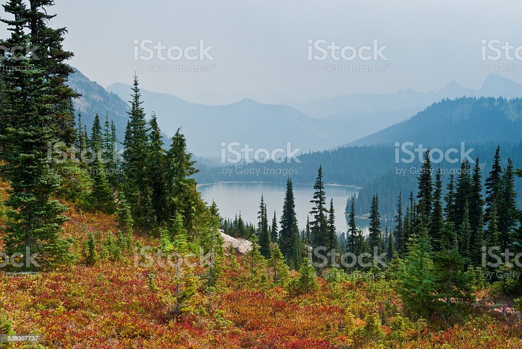 Smoke from Wildfires Obscures Dewey Lake stock photo