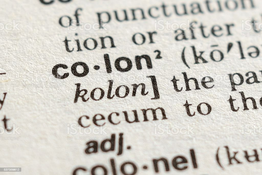 The Word Colon stock photo