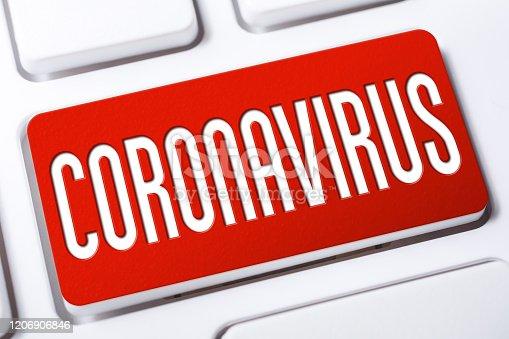 The Word Coronavirus On Red Keyboard Button