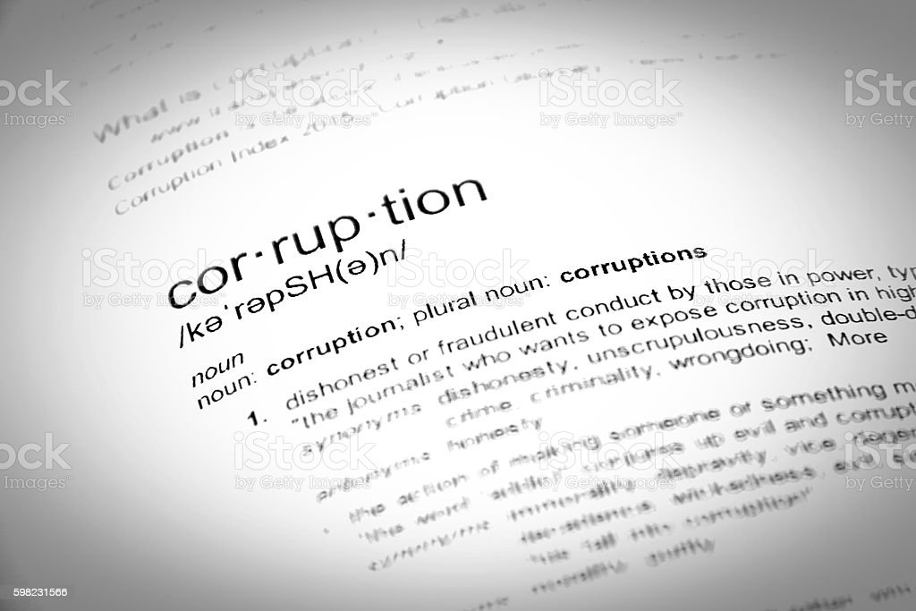 The word corruption, close up, selective focus foto royalty-free