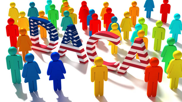 The word DACA with an american flag texture surrounded by a group of differently colored people stock photo