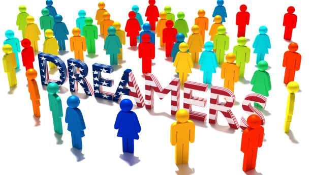 The word dreamers with an american flag texture surrounded by a group of differently colored people stock photo