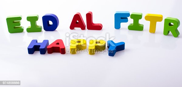istock the word EID EL FITR  written with colorful letters 974858886