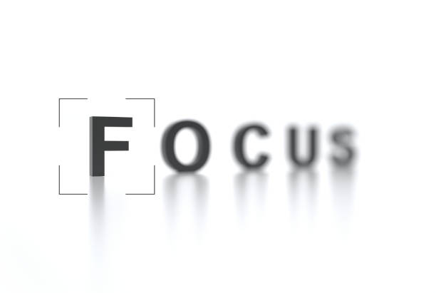 The word FOCUS with focus in the foreground and a blurred background. Interface viewfinder. Video camera focusing screen. Camera frame. Creative conceptual illustration with copy space. 3D render The word FOCUS with focus in the foreground and a blurred background. Interface viewfinder. Video camera focusing screen. Camera frame. Creative conceptual illustration with copy space. 3D render. image focus technique stock pictures, royalty-free photos & images