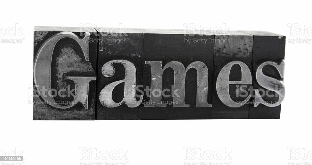 the word 'Games in old metal letterpress type royalty-free stock photo