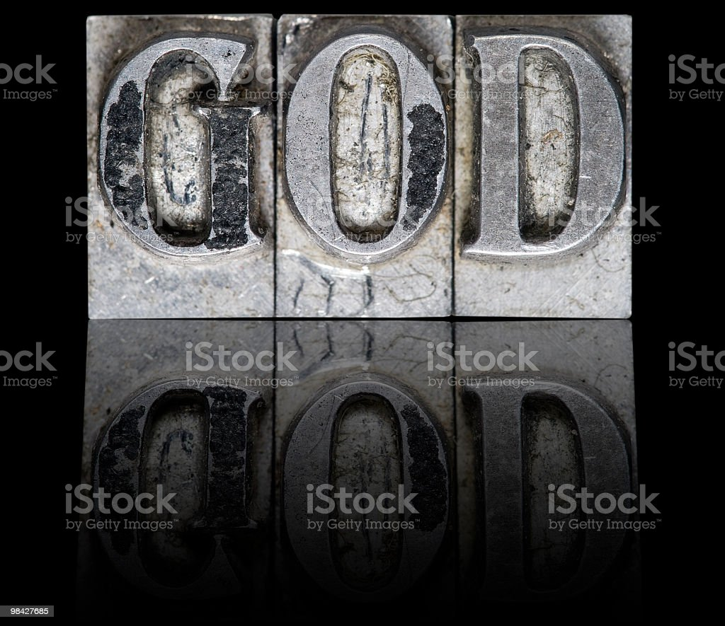 The word GOD arranged on a typeface royalty-free stock photo