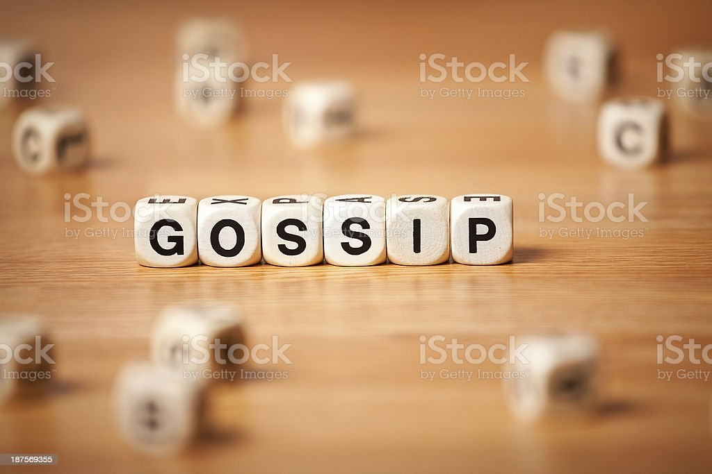 The Word GOSSIP Spelled In Letter Cubes royalty-free stock photo