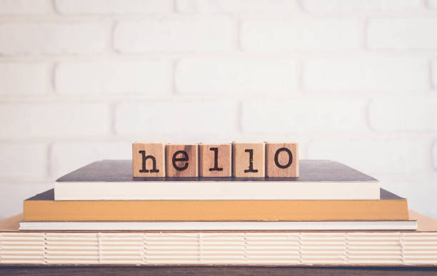 The word HELLO and blank space background, vintage. stock photo