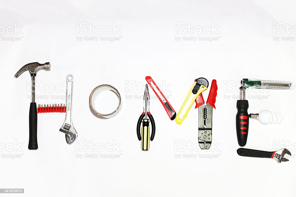 The word home made of tools stock photo