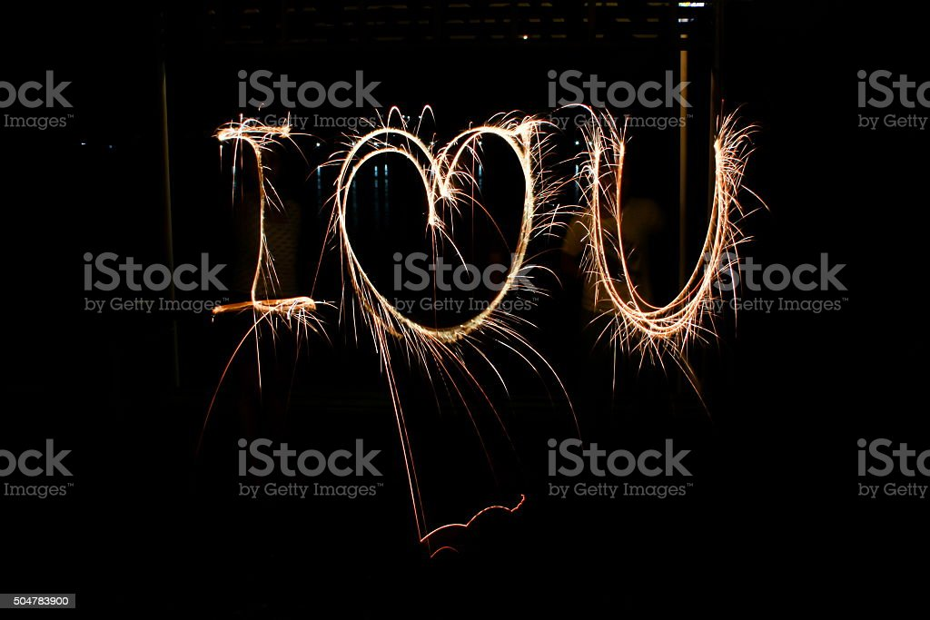 The Word I Love U In Sparklers At Night Stock Photo 504783900 Istock