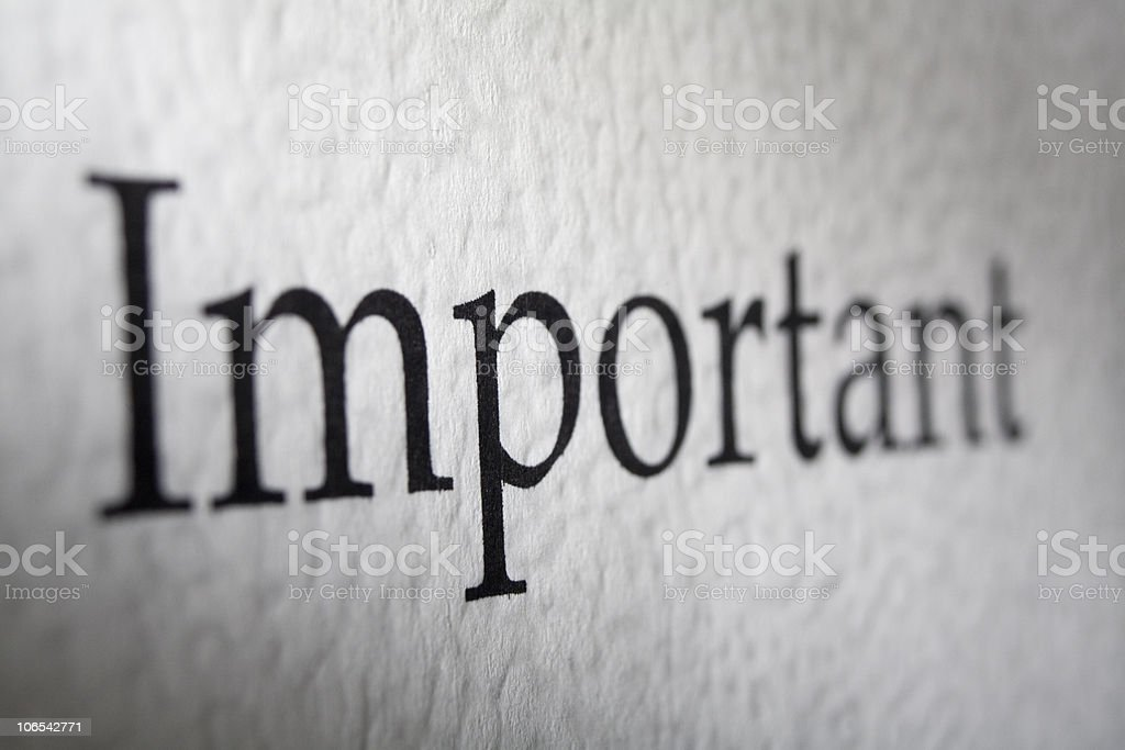 The word important in times new roman font royalty-free stock photo