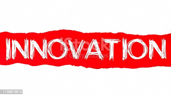 istock The word INNOVATION appearing behind red torn paper 1148974813