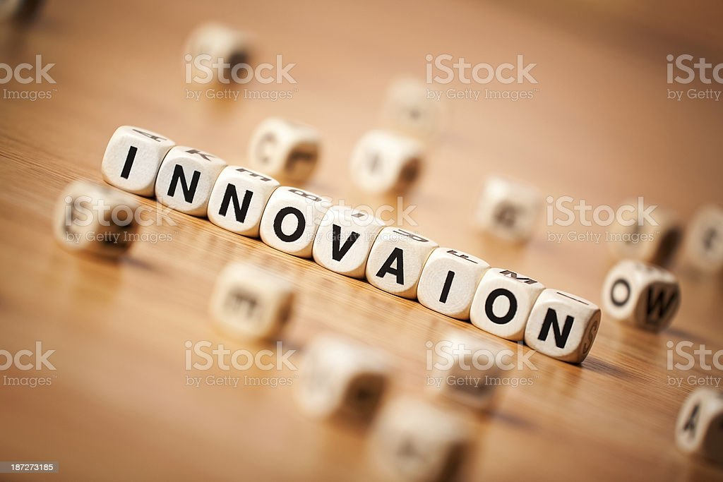The Word INNOVATION Spelled In Letter Cubes royalty-free stock photo
