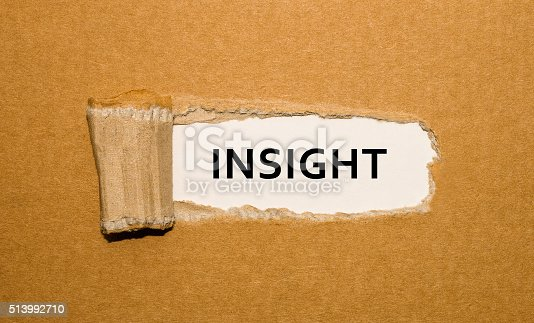 istock The word Insight appearing behind torn brown paper. 513992710