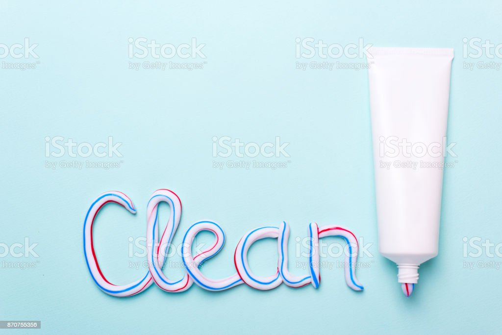 The word is clean from the toothpaste. Copy space for text stock photo