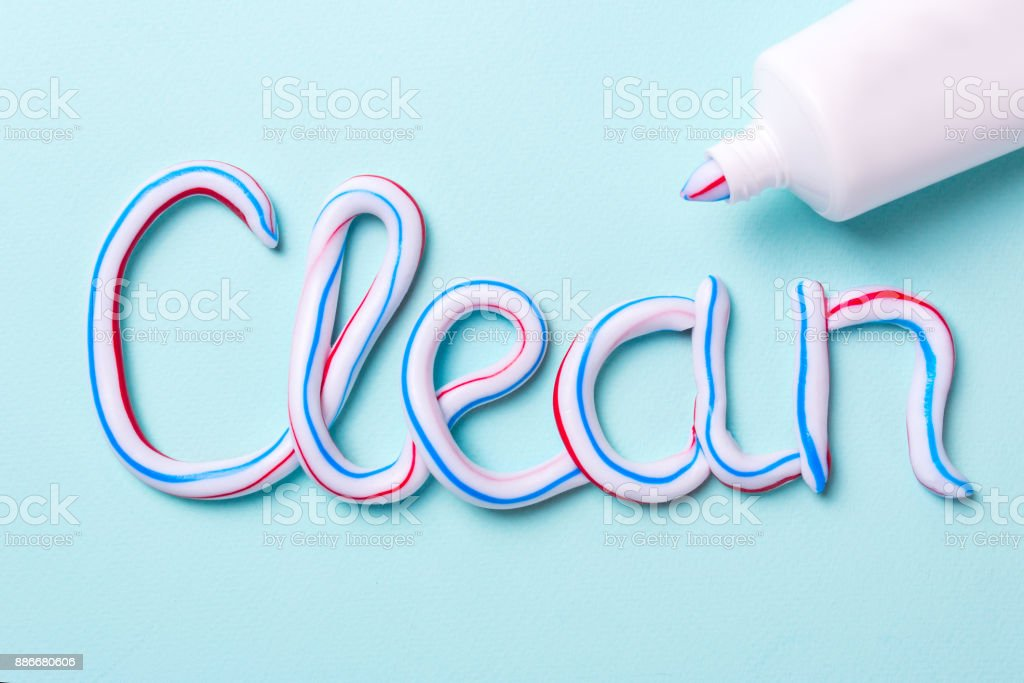 The word is clean from the toothpaste stock photo
