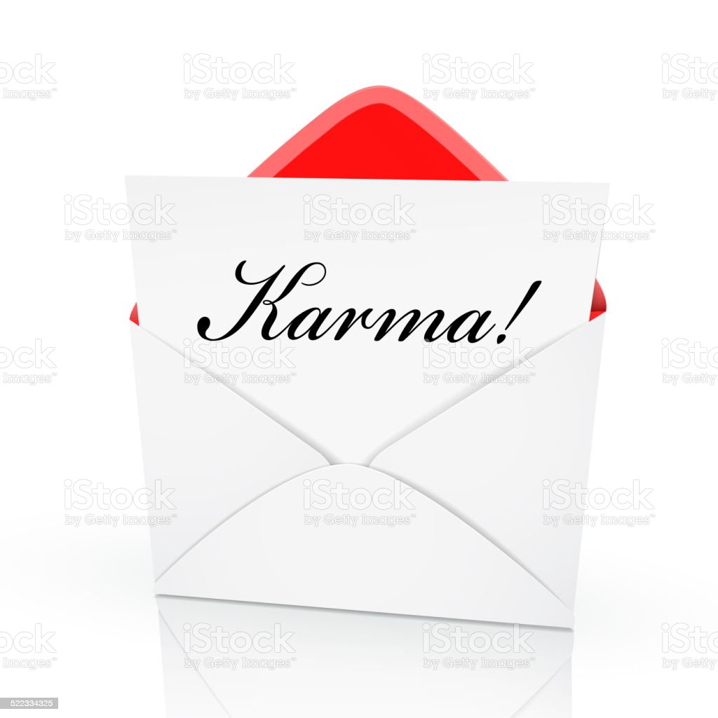 the word karma on a card stock photo