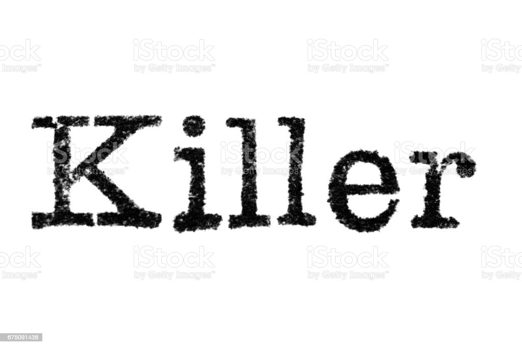 The word 'Killer' from a typewriter on white stock photo
